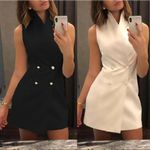 Lapel Button Sleeveless Double Breasted Blazer Dresses