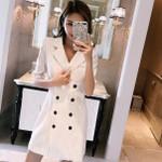 Double Breasted Half Sleeve Slim Striped Blazer Dresses