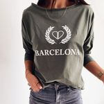 Long Sleeve Cotton Plain Fashion Casual Letter T Shirt