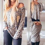 Sequins Splicing  O-Neck Long Sleeves  Leopard Print T-Shirt
