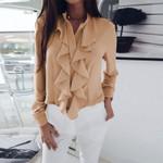Long Sleeves Ruffled V-neck Soft Blouse