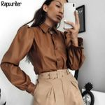 Casual Turn-down Collar Long Puff Sleeve Faux Leather Blouse