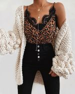 Leopard Sleeveless Casual Sexy Lace Tank Top