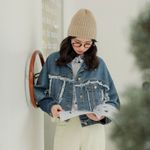 Loose Long Sleeve  Tassel Denim Jacket