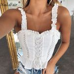 Ruffles Lace Patchwork Sexy Backless Bandage Tank Top