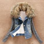 Warm Button Long Sleeve Pockets Slim Denim Jacket