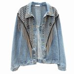 Hand-studded Rivet Tassel Chain Denim Jacket