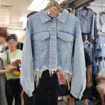 Pockets Diamonds Tassel Cropped Denim Jacket