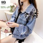 Flower Sequined Fashion  Casual Loose Fit Denim Jacket