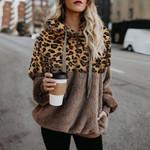 Long Sleeve Fleece Leopard Sort Warm Teddy Hoodies