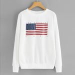 Fashion Casual Casual O-Neck Long Sleeve Flag Letter Sweatshirts