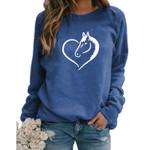 Cute Horse Heart Letter Print Sweatshirts