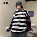loose vintage striped long-sleeved fashion sweatshirt