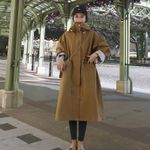 Drawstring Loose Office  Long Hooded Trench Coat