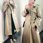 Tunic Slim Fit Double Breasted Khaki Trench Coat
