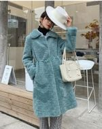 Wool Long  Sheep Fur Coat