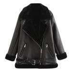 PU Slim  Leather Fur Patchwork Jacket