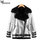 Casual Fleece Zipper Motorcycle  Faux Leather Jacket