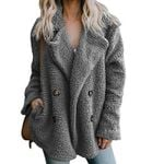 Elegant Faux Fur Casual Lapel Fleece Fuzzy Faux Button  Jackets