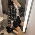 Long Sleeve V-Neck Pearls Fashion Chic Plaid Tweed Jackets