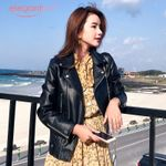 Pu Leather Biker Zipper  Soft Faux Jacket