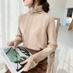 Pullover warm chic loose Knitted  turtleneck Sweater