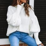 Pullover Lantern Sleeve Loose Casual Knitted Turtleneck Sweater
