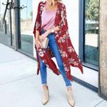 V-neck Cover Up Top Floral Print Vintage Long Kimono