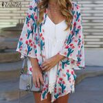 Casual Cardigan Holiday Bikini Cover up Floral Baggy Kimono