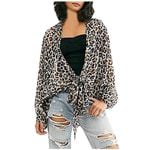 Knot Chiffon Cover Up Cardigan Leopard Vintage Kimono