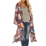 Cardigan Long Sleeves Chiffon Floral Print Casual Long Kimono