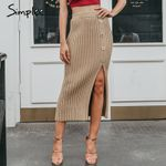 Elegant pleated Sexy side split button knitted skirt