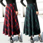 High Elastic Waist Maxi A-line Plaid Warm Flare Long Ankle Skirt