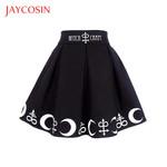 Moon Above  Gothic Punk Symbols Pleated Mini Skirt