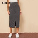 Single Breasted Split Hem Pocket Patched Rib-knit Skirts
