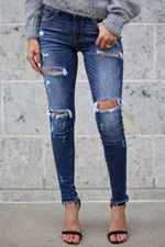 Cotton Slim elastic Vintage Fashion Bleached Tassel Ripped jeans