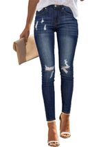 Slim Stretch Ripped Tassel Skinny Push Up High Waist Jeans