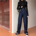 Fashion High Waist Loose Casual Soft  Wide Leg Jeans