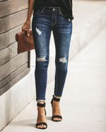 Cool Vintage skinny push up High Waist Hole ripped jeans
