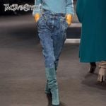 Trousers High Waist Patchwork Rivets Long Jeans