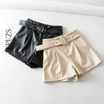 Casual  High Waist fashion belt leather shorts