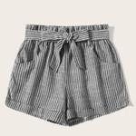 Elastic Waist  Mid Waist Belted Waist Striped Shorts
