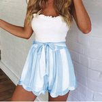 Casual Printing Striped Petal Double Layer Shorts