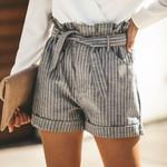 Fashion High Waist Trouser High Waist Casual  Striped Shorts