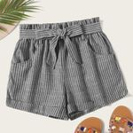 Pocket Pleated Waist Buttoned Belt Knot Striped Shorts