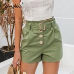 Sash belt cotton buttons Casual  shorts