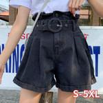 Pleated Wide Leg Belt High Waist Ruffles Denim Shorts