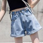 Loose High Waist Curled Wide leg Denim Shorts