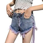 Lace-Up Retro Ripped Buttons Denim Shorts
