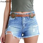 High Waist Folded Hem  Sexy Vintage Denim short